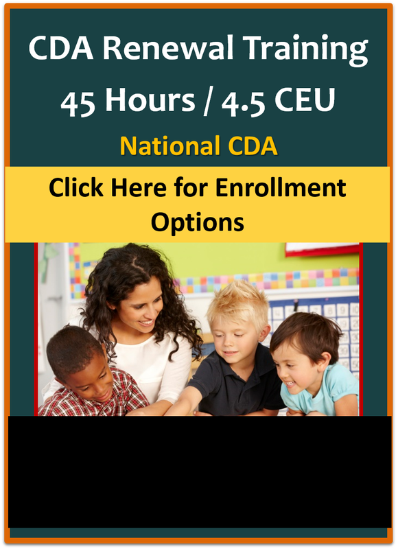 cda coursework online Frog street now offers online coursework and the portfolio support necessary to apply for your child development associate (cda) certification the cda credential is a widely recognized credential in early childhood education and is key to career advancement.