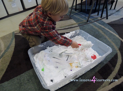 Christmas Shaving Cream Sensory Bin